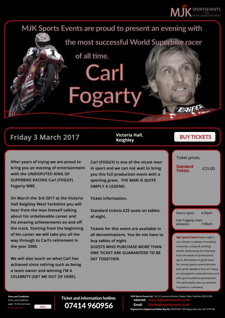 Carl Fogarty Victoria Hall Keighley
